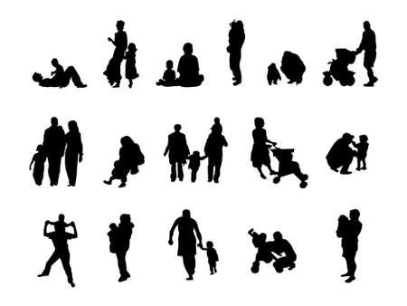 pregnant black woman: silhouette family set Illustration