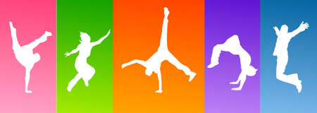 silhouette jumping Stock Vector - 8052803
