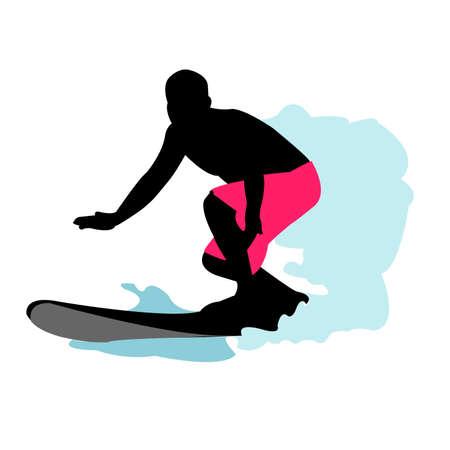 Silueta de surfista  Ilustración de vector