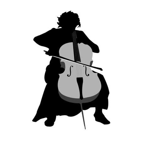 cello: ragazza e violoncello Vettoriali