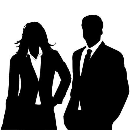 silueta humana: pareja de negocio