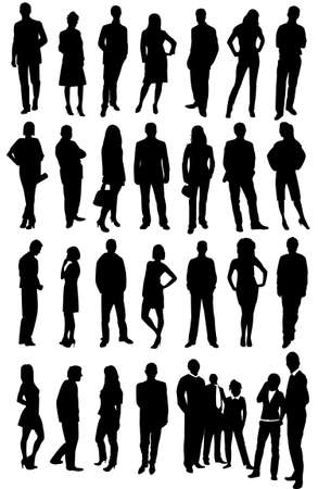 worker silhouette: business people
