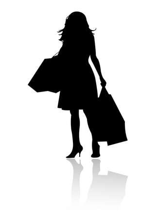 silhouet meisje winkelen