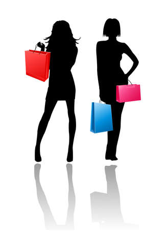 vectorial: silhouette girls shopping