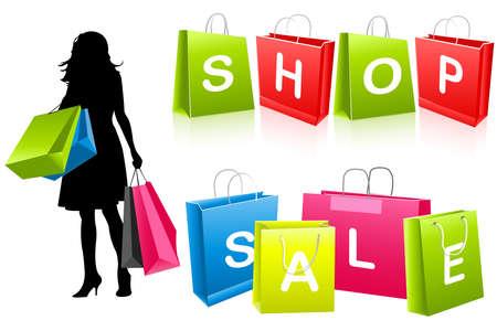 silhouette girl shopping Stock Vector - 8054144