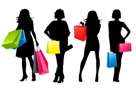 chicas comprando: ni�as de la silueta de compras