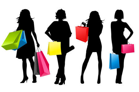 silhouet meisjes winkelen  Vector Illustratie