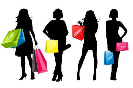 chicas de compras: ni�as de la silueta de compras