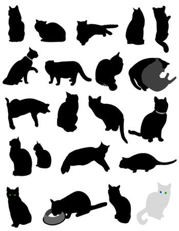 meow: silhouette cats