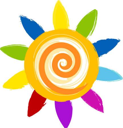 colorful cartoon sun