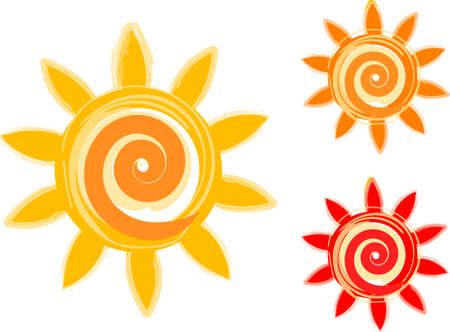 sol caricatura: conjunto de sol  Vectores