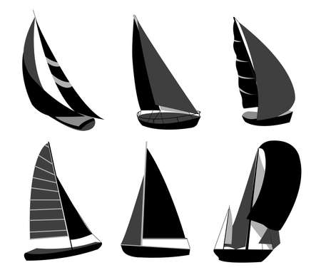 yacht race: ship, boat silhouettes  Illustration