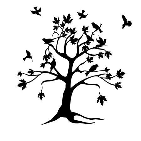 tree and birds silhouette Stock Vector - 6581975