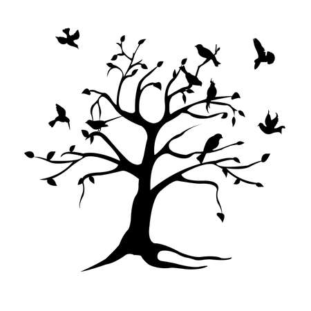 tree and birds silhouette Stock Vector - 6581973
