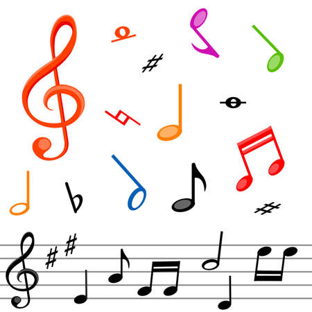 composer: Music notes and white background Illustration