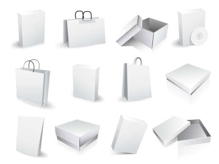 hape: shopping bags and boxes Illustration