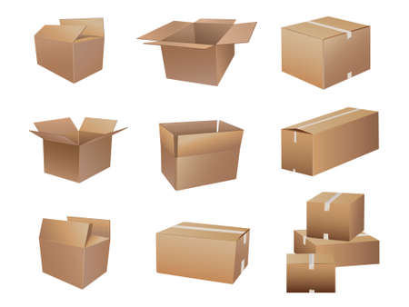 shipping boxes collection Vector