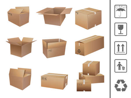 shipped: shipping boxes collection Illustration