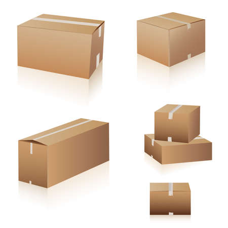 shipping boxes collection Illustration