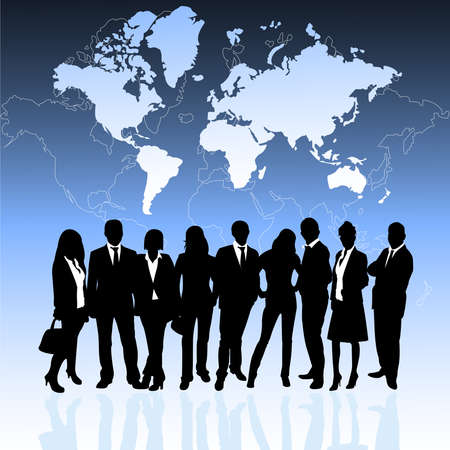 business outline: business people and world map Illustration