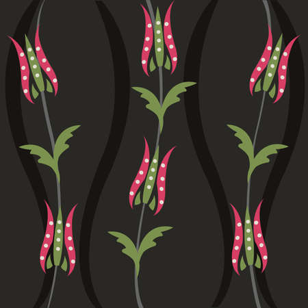 tulips in green grass: decorative floral pattern, background Illustration