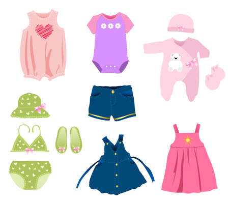 Baby girl elements, clothes Vector