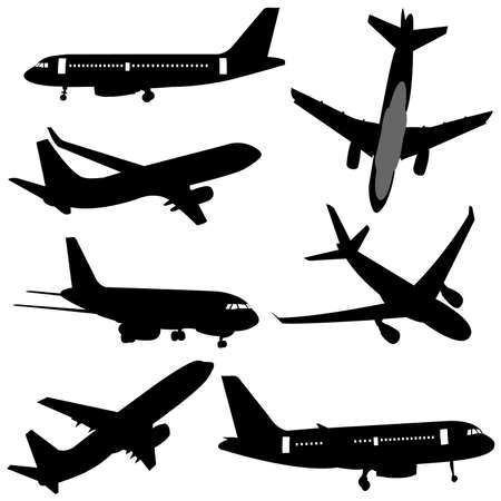 commercial airline: plane silhouettes Illustration