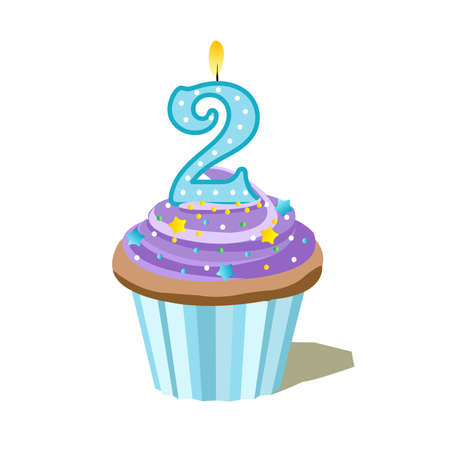 blue number two cupcake Vector