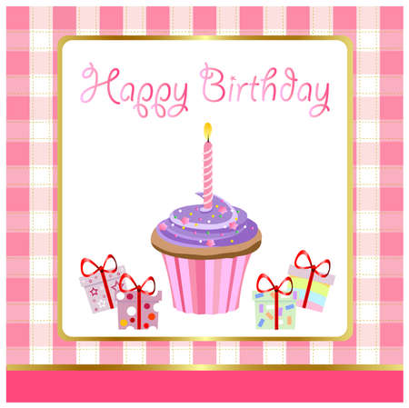 happy birthday, greeting card Vector
