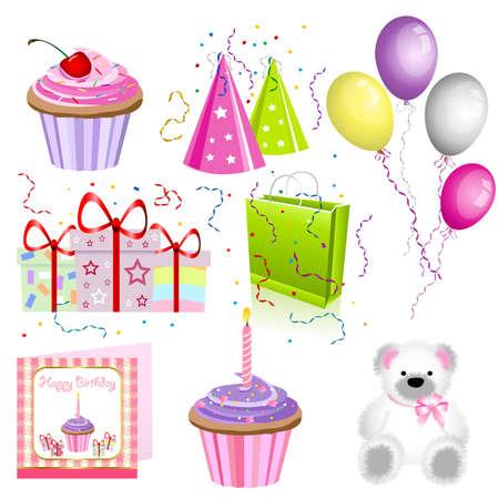 cupcakes isolated: Birthday set
