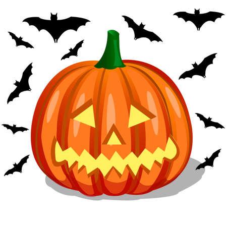 sillhouette: pumpkin and bats, halloween