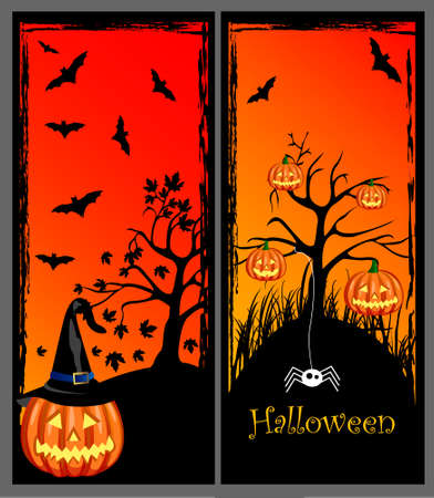 spooky tree: set of halloween banners Illustration