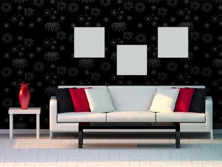 3d render living room, modern room Stock Photo - 8054160