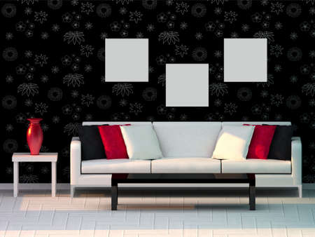 3d render living room, modern room Stock Photo - 8054160