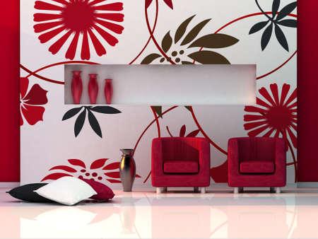 3d render living room, modern room