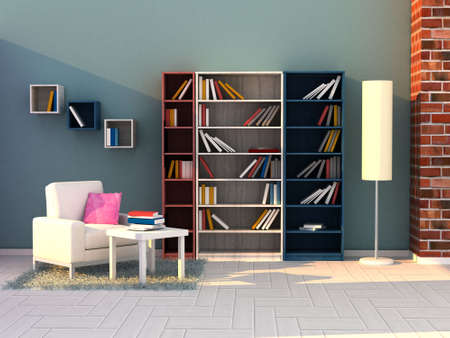 3d render study room, modern room photo