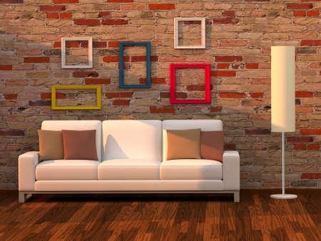 3d render living room, modern room Stock Photo - 8054164