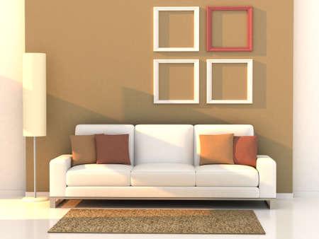 3d render living room, modern room photo