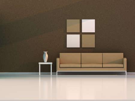 3d render brown living room , modern room Stock Photo - 8054158
