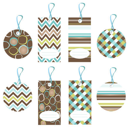 tags, colorful seamless patterns with fabric texture Vector