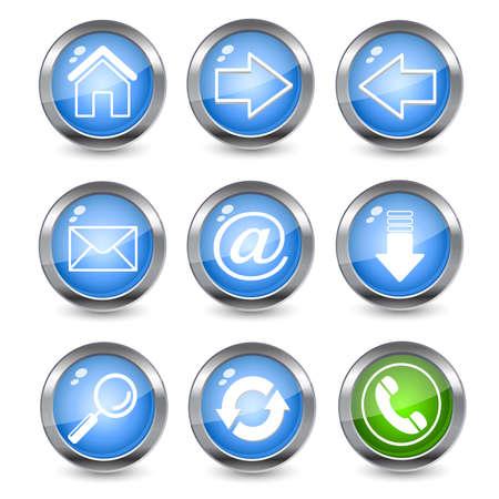 opfrissen: Glossy web iconen  Stock Illustratie