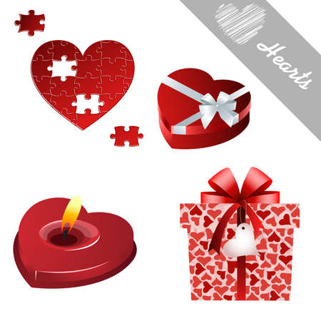 letter writing: hearts valentines icons Illustration