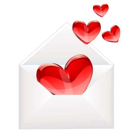 mail man: corazones de carta y rojo del amor