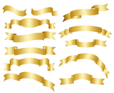 Gold ribbon set Stock Vector - 8149635