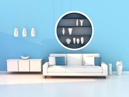 blue living room, modern room photo