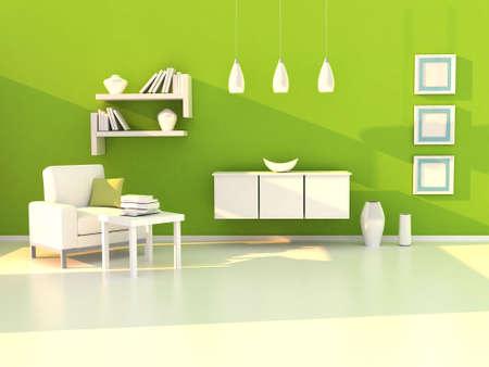 study room: green study room, modern room, living room