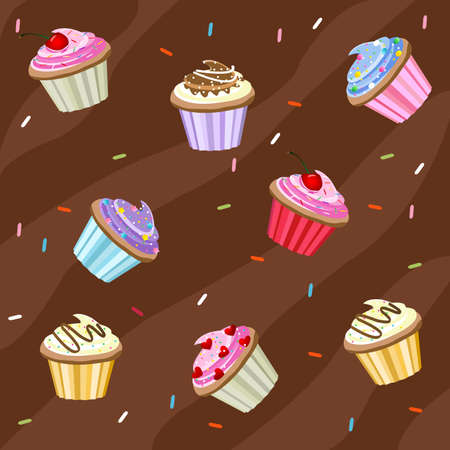 cupcakes background Stock Vector - 8251487