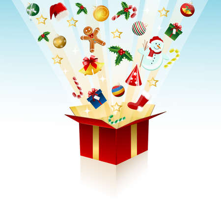 Merry Christmas gift, box Vector