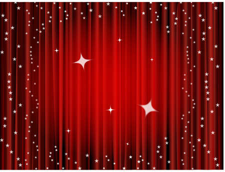 hollywood christmas: Theater curtain background, movie curtain Stock Photo