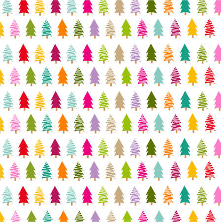 colorful christmas trees card Vector